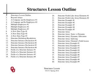 Structures Lesson Outline