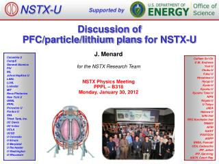 Discussion of  PFC/particle/lithium plans  for NSTX-U