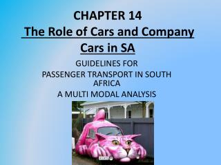 CHAPTER 14  The Role of Cars and Company Cars in SA