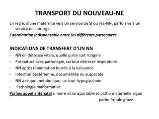 TRANSPORT DU NOUVEAU-NE