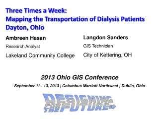 Three Times a Week: Mapping the Transportation of Dialysis Patients Dayton, Ohio