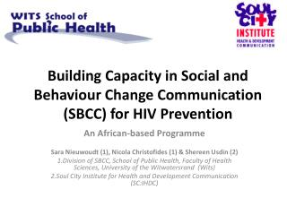 Building Capacity in Social and Behaviour Change Communication (SBCC) for HIV Prevention