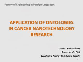 Application of ontologies in Cancer nanotechnology research