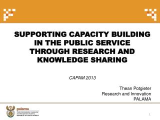 Supporting capacity building  in the  Public Service  through research and knowledge sharing