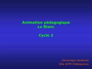Animation p dagogique  Le Blanc  Cycle 2