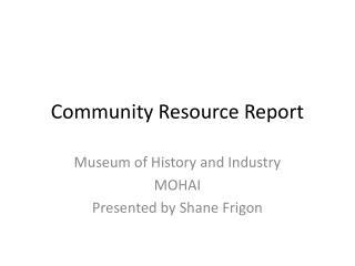 Community Resource Report