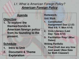 L1: What is American Foreign Policy? American Foreign Policy