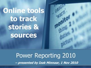 Online tools to track stories & sources