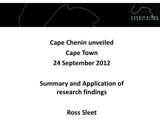 Cape Chenin  unveiled Cape Town 2 4 September  2012
