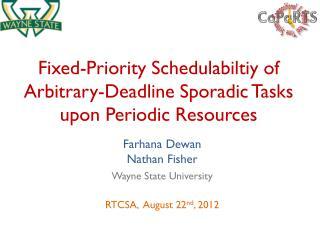 Fixed-Priority  Schedulabiltiy  of Arbitrary-Deadline Sporadic Tasks upon Periodic Resources