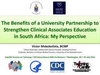 Victor  Mokokotlela , BCMP Clinical Associate, Carletonville District Hospital, Gauteng Province
