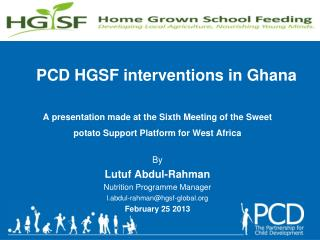PCD HGSF interventions in Ghana