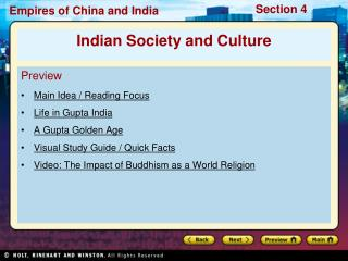 Preview Main Idea / Reading Focus  Life in Gupta India A Gupta Golden Age
