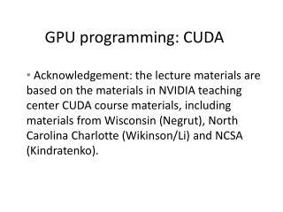 GPU programming: CUDA