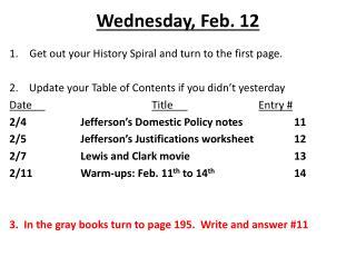 Wednesday, Feb. 12