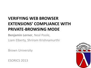 Verifying Web Browser  Extensions '  Compliance with  Private-Browsing Mode