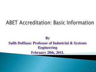 ABET Accreditation: Basic Information