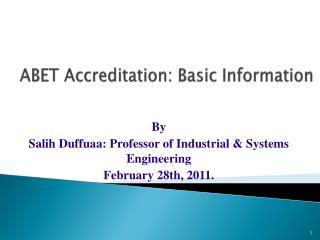 ABET Accreditation: Basic Information