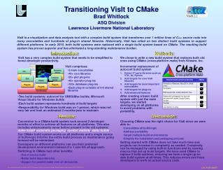 Transitioning  VisIt  to CMake