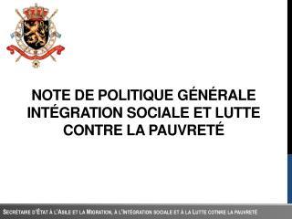 Note  DE  politique gÉnÉrale IntÉgration sociale et  lutte contre  la  pauvretÉ