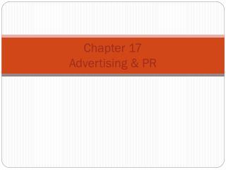 Chapter  17 Advertising & PR