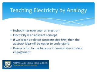 Teaching Electricity by Analogy