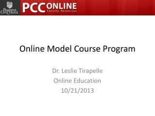 Online Model Course Program