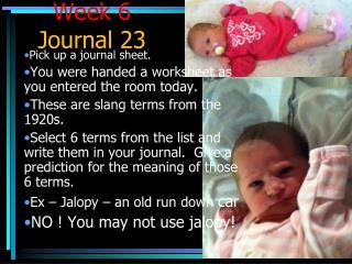 Week 6  Journal 23