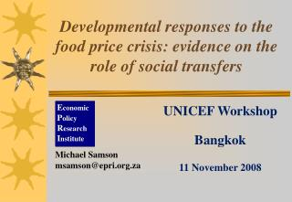 Developmental responses to the food price crisis: evidence on the role of social transfers