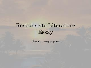 Response to Literature Essay