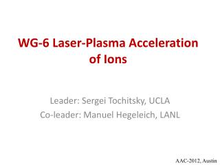 WG-6 Laser-Plasma Acceleration of Ions