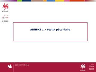 ANNEXE 1 – Statut pécuniaire