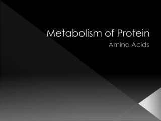 Metabolism of Protein
