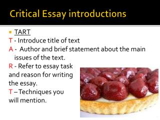 Critical Essay introductions