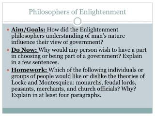 Philosophers of Enlightenment