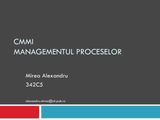 CMMI  Managementul proceselor