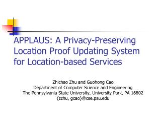 APPLAUS: A Privacy-Preserving Location Proof Updating System for Location-based Services