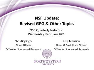 NSF Update: Revised GPG & Other Topics