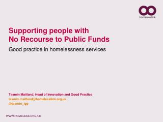 Supporting people with  No Recourse to Public Funds Good practice in homelessness services