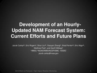 Development of an Hourly-Updated NAM Forecast System: Current Efforts and Future Plans
