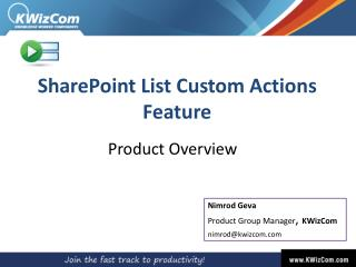 SharePoint  List Custom Actions Feature