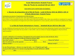 Ecole Elémentaire Anatole France Fête de l'Ecole du vendredi 28 Juin 2013