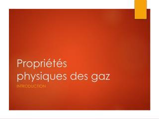 Propri�t�s physiques des gaz