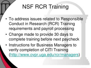 NSF RCR Training