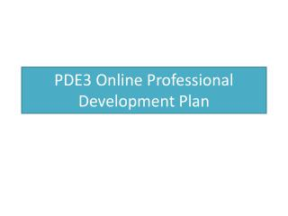 PDE3 Online Professional Development Plan