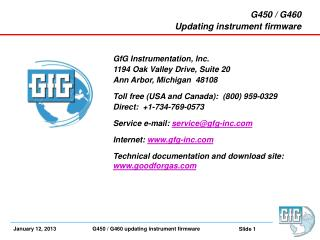 G450  / G460 Updating instrument firmware GfG  Instrumentation,  Inc.