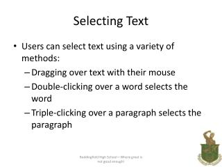 Selecting Text