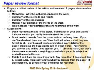 Paper review format