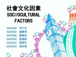 社會文化因素 SOCIOCULTURAL FACTORS
