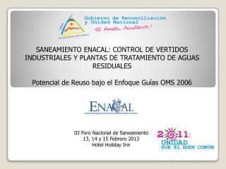 SANEAMIENTO ENACAL: CONTROL DE VERTIDOS INDUSTRIALES Y PLANTAS DE TRATAMIENTO DE AGUAS RESIDUALES